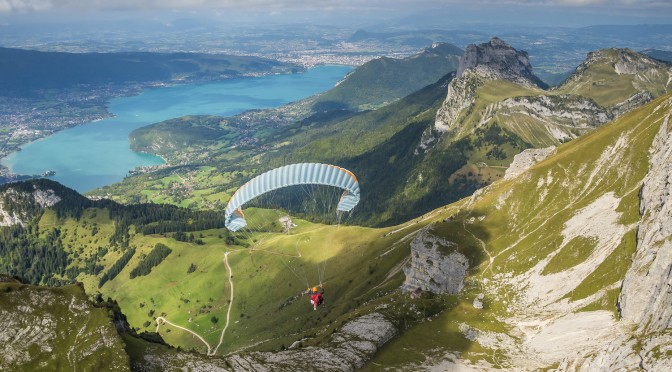 Competitor fly during the Red Bull Elements in Talloires, France on September 20th, 2014